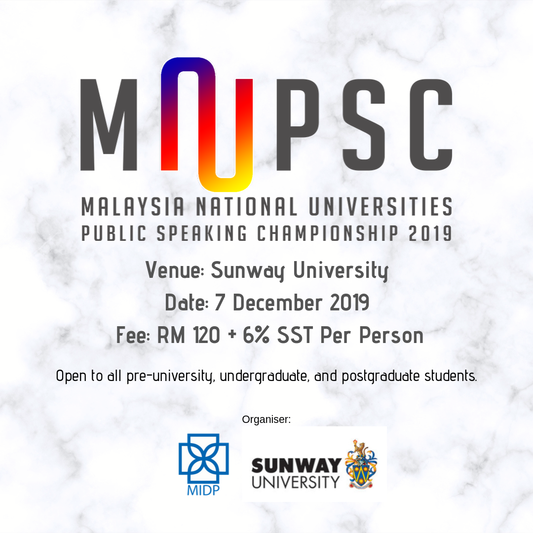 Malaysia National Universities Public Speaking Championship 2019
